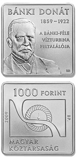 Image of 1000 forint coin - 150th anniversary of the birth of Donát Bánki | Hungary 2009.  The Copper–Nickel (CuNi) coin is of Proof, BU quality.