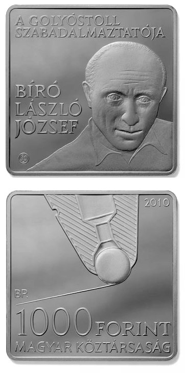 Image of 1000 forint coin - László Bíró, inventor of the ballpoint pen | Hungary 2010.  The Copper–Nickel (CuNi) coin is of Proof, BU quality.