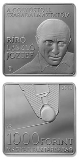 1000 forint László Bíró, inventor of the ballpoint pen - 2010 - Series: Commemorative 1000 forint coins - Hungary
