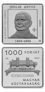 1000 forint coin 150th anniversary of Ányos Jedlik  | Hungary 2011