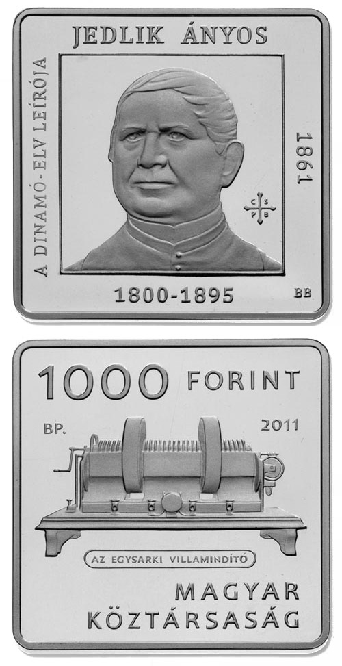 Image of 1000 forint coin – 150th anniversary of Ányos Jedlik  | Hungary 2011.  The Copper–Nickel (CuNi) coin is of Proof, BU quality.