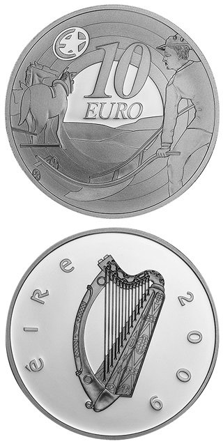 10 euro 80th Anniversary of Ploughman´s Banknotes Launch - 2009 - Series: Silver 10 euro coins - Ireland