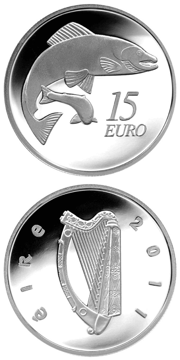 Image of 15 euro coin – The Salmon | Ireland 2011.  The Silver coin is of Proof quality.