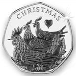 50 pence Three French Hens - 2007 - Series: The Twelve Days of Christmas - Isle of Man