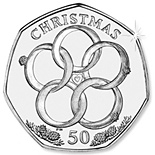 50 pence Five Gold Rings - 2009 - Series: The Twelve Days of Christmas - Isle of Man