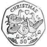 50 pence coin Six geese a laying | Isle of Man 2010