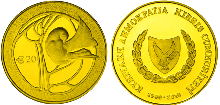Image of a coin 20 euro | Cyprus | 50th anniversary of the Republic of Cyprus | 2010