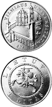 Image of 425th anniversary of Vilnius University – 1 litas coin Lithuania 2004.  The Copper–Nickel (CuNi) coin is of UNC quality.
