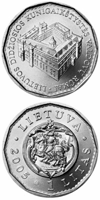 Image of 1 litas coin – 150th anniversary of the National Museum of Lithuania  | Lithuania 2005.  The Copper–Nickel (CuNi) coin is of UNC quality.