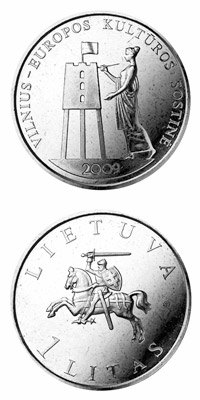 Image of 1 litas coin – European Capital of Culture 2009 | Lithuania 2009.  The Copper–Nickel (CuNi) coin is of UNC quality.