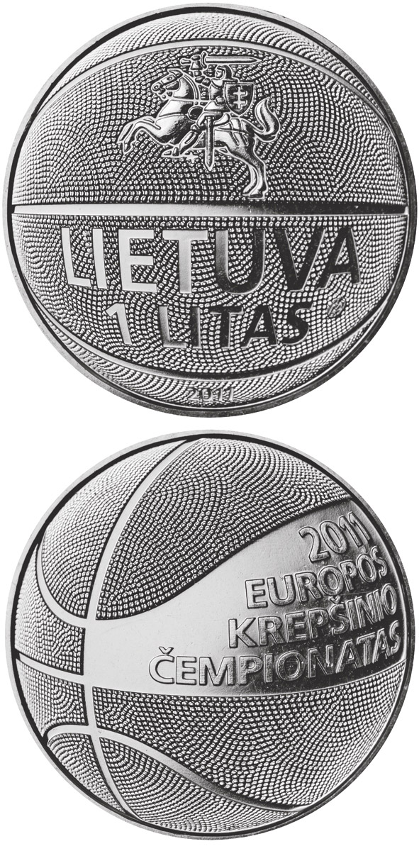 Image of 1 litas coin – Basketball | Lithuania 2011.  The Copper–Nickel (CuNi) coin is of UNC quality.