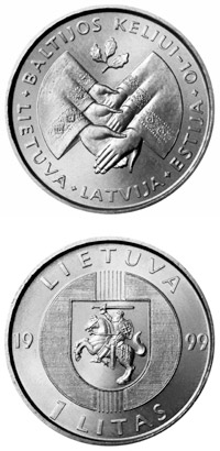 Image of 1 litas coin 10th Anniversary of the Baltic Way | Lithuania 1999.  The Copper–Nickel (CuNi) coin is of UNC quality.