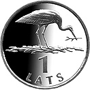 Image of 1 lats coin – Stork | Latvia 2001.  The Copper–Nickel (CuNi) coin is of UNC quality.