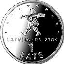 Image of 1 lats coin - Sprīdītis | Latvia 2004.  The Copper–Nickel (CuNi) coin is of UNC quality.