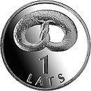 Image of 1 lats coin – Pretzel | Latvia 2005.  The Copper–Nickel (CuNi) coin is of UNC quality.