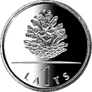Image of Pinecone – 1 lats coin Latvia 2006.  The Copper–Nickel (CuNi) coin is of UNC quality.