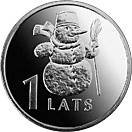 Image of 1 lats coin – Snowman | Latvia 2007.  The Copper–Nickel (CuNi) coin is of UNC quality.