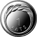 Image of 1 lats coin - Chimney-sweep | Latvia 2008.  The Copper–Nickel (CuNi) coin is of UNC quality.