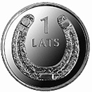 Image of 1 lats coin – Toad | Latvia 2010.  The Copper–Nickel (CuNi) coin is of UNC quality.