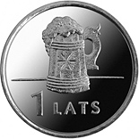 Image of Beer mug – 1 lats coin Latvia 2011.  The Copper–Nickel (CuNi) coin is of UNC quality.