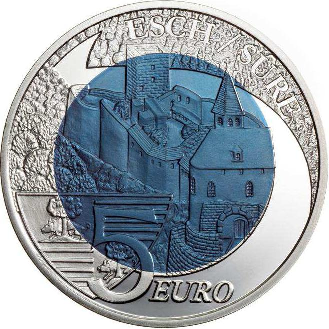 Image of 5 euro coin – Castle of Esch-Sur-Sure | Luxembourg 2010.  The Bimetal: silver, niobium coin is of BU quality.