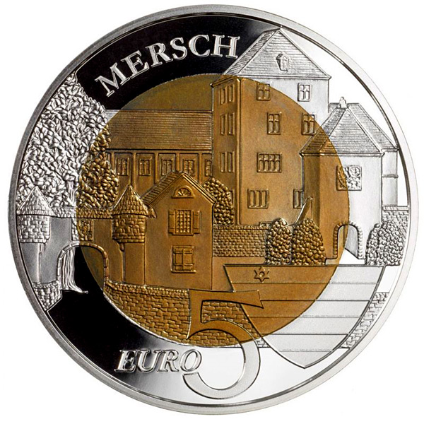 Image of 5 euro coin - Le Château de Mersch | Luxembourg 2011.  The Bimetal: silver, niobium coin is of BU quality.