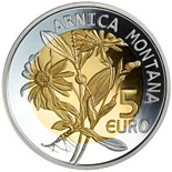 Image of 5 euro coin – Arnica Montana | Luxembourg 2010.  The Bimetal: silver, nordic gold coin is of Proof quality.