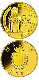 Image of 50 euro coin - The Auberge de Castille | Malta 2008.  The Gold coin is of Proof quality.