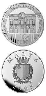 Image of 10 euro coin – La Castellania | Malta 2009.  The Silver coin is of Proof quality.