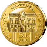 Image of 50 euro coin - La Castellania | Malta 2009.  The Gold coin is of Proof quality.