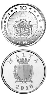 Image of 10 euro coin – Auberge d'Italie | Malta 2010.  The Silver coin is of Proof quality.