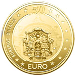Image of 50 euro coin - Auberge d'Italie | Malta 2010.  The Gold coin is of Proof quality.