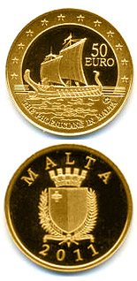Image of 50 euro coin - The Phoenicians in Malta | Malta 2011.  The Gold coin is of Proof quality.