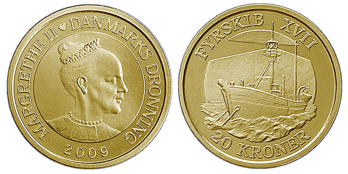 Image of 20 krone coin - Lightship XVII | Denmark 2009.  The Nordic gold (CuZnAl) coin is of Proof, BU, UNC quality.