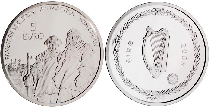 Image of 5 euro coin - Polar Year | Ireland 2008.  The Silver coin is of Proof quality.