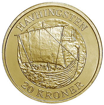 Image of The Sea Stallion – 20 krone coin Denmark 2008.  The Nordic gold (CuZnAl) coin is of Proof, BU, UNC quality.