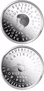 5 euro coin 50 years Statute of the Kingdom of Netherlands  | Netherlands 2004