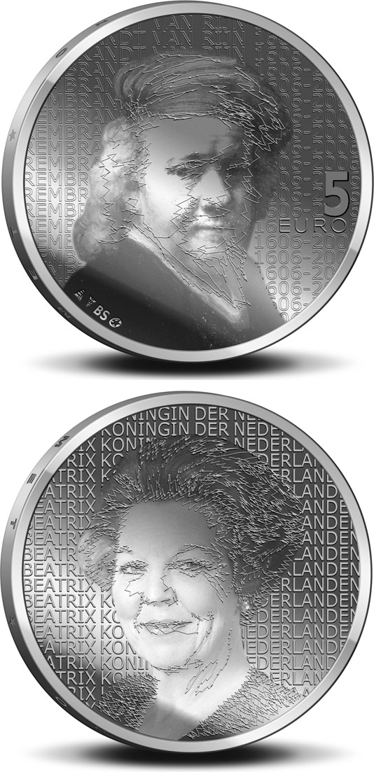 5 euro 400. birthday of Rembrandt Harmenszoon van Rijn  - 2006 - Series: Silver 5 euro coins - Netherlands