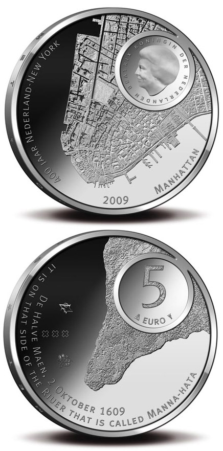 5 euro Manhattan 400 Years - 2009 - Series: Silver 5 euro coins - Netherlands
