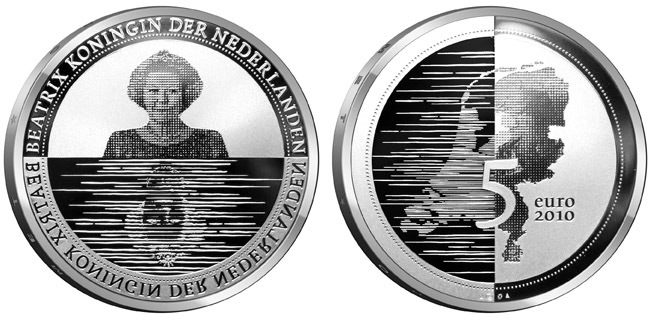 Image of 5 euro coin – Nederland Waterland | Netherlands 2010.  The Silver coin is of Proof, UNC quality.