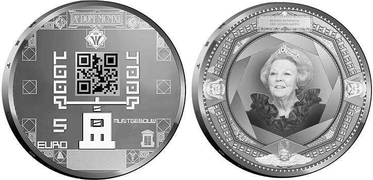 Image of 5 euro coin – 100 year Muntgebouw | Netherlands 2011.  The Silver coin is of Proof, UNC quality.
