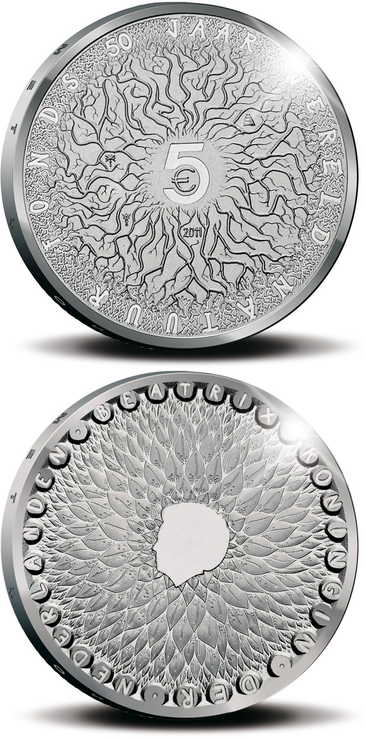 Image of 5 euro coin – 50th Anniversary of the World Wildlife Fund (WWF)  | Netherlands 2011.  The Silver coin is of Proof, UNC quality.