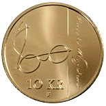 Image of 10 krone coin - 200th anniversary of Henrik Wergeland | Norway 2008.  The Nordic gold (CuZnAl) coin is of BU, UNC quality.