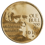 Image of 10 krone coin – 200th anniversary ot birth Ole Bull | Norway 2010.  The Nordic gold (CuZnAl) coin is of BU, UNC quality.