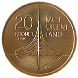 20 krone 1000 Years commeoration for discovering Vinland  - 1999 - Series: Circulation commemorative coins - Norway