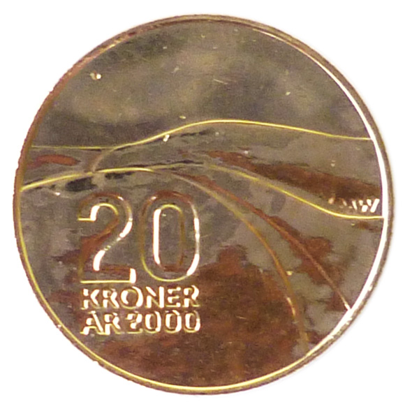 Image of 20 krone coin – Ibsen anniversary | Norway 2006.  The Nordic gold (CuZnAl) coin is of BU, UNC quality.
