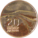 Image of 20 krone coin - Discovery of North America | Norway 2000.  The Nordic gold (CuZnAl) coin is of BU, UNC quality.