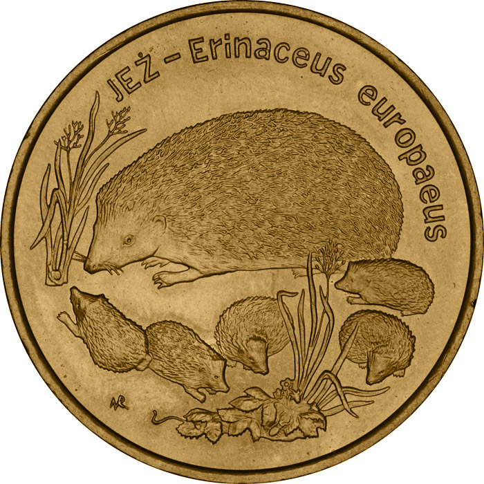 2 zloty European Hedgehog - 1996 - Series: Animals of the World  - Poland