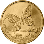Image of 2 zloty coin - Swallowtail | Poland 2001.  The Nordic gold (CuZnAl) coin is of UNC quality.