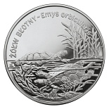 Image of 20 zloty coin – Emys orbicularis | Poland 2002.  The Silver coin is of Proof quality.